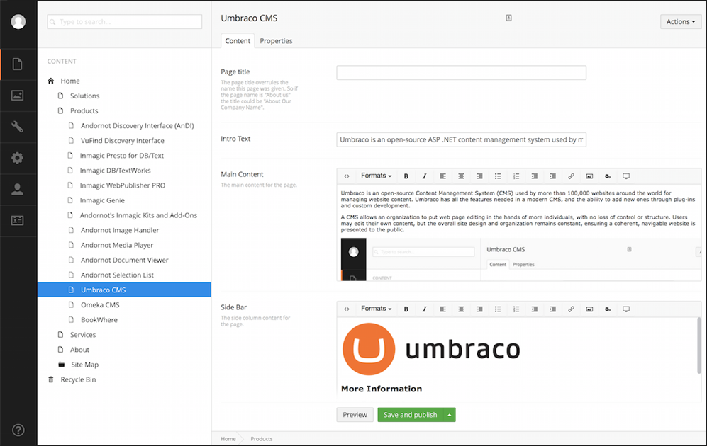 Umbraco screenshot (620 pix)