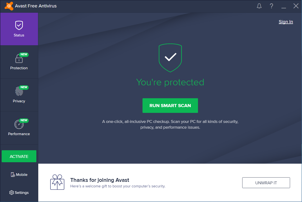 Avast! Antivirus 2018 screenshot (620 pix)