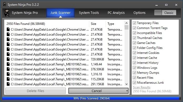 System Ninja 3.2.2 screenshot
