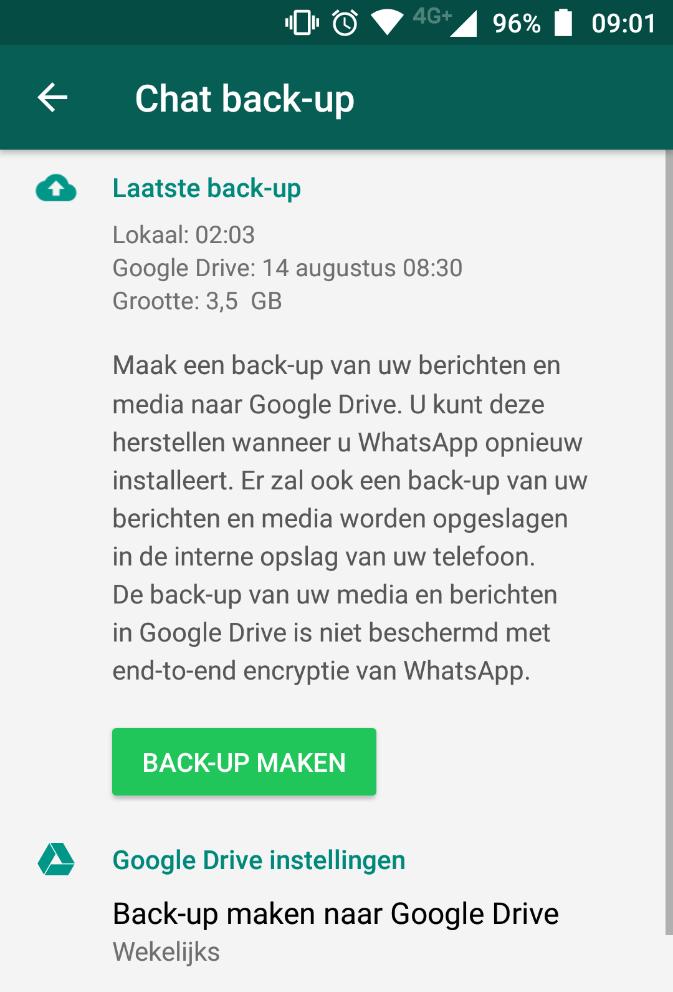 Back Up Van Whatsapp Gaat Niet Meer Af Van Opslagcapaciteit Google