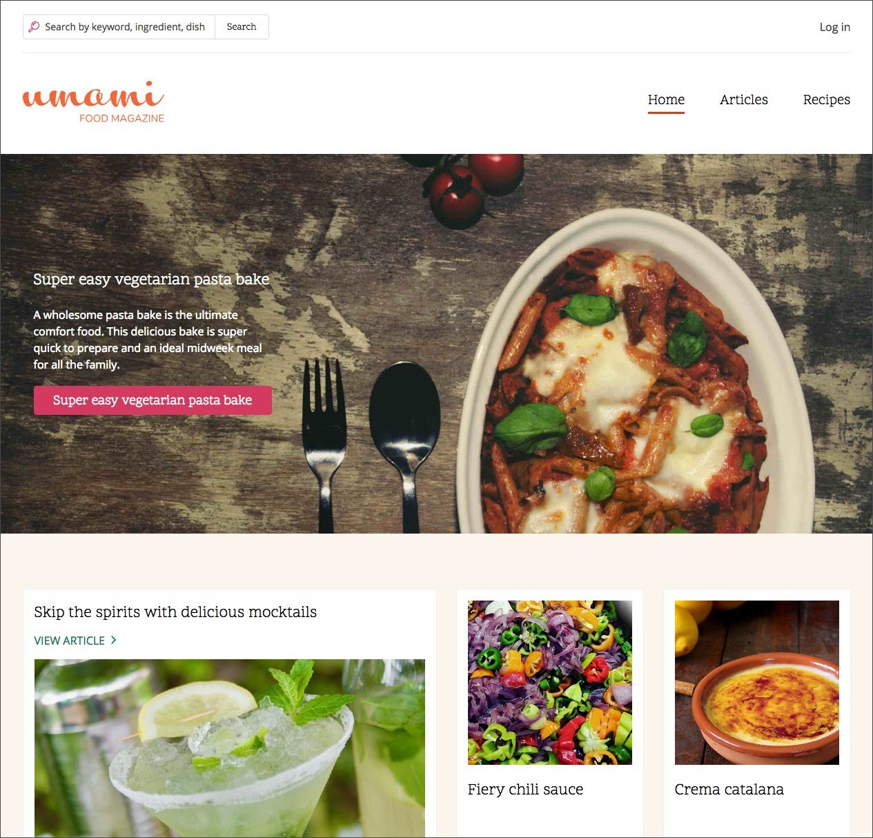Drupal 8.6.0 Umami food magazine demo (620 pix)