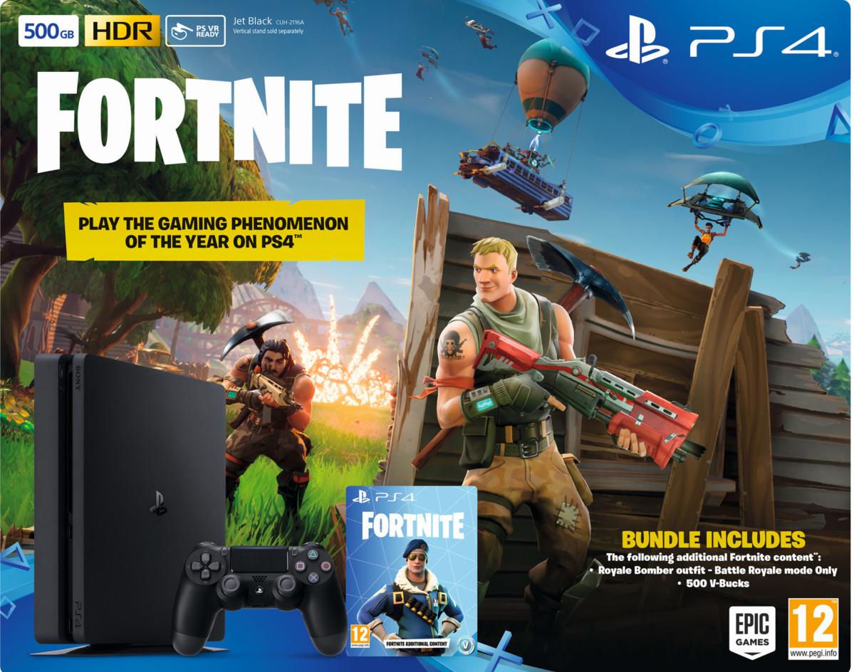 07bb85d2b18 Sony PlayStation 4 Slim 500GB + Fortnite + bonuscontent Zwart - Prijzen -  Tweakers