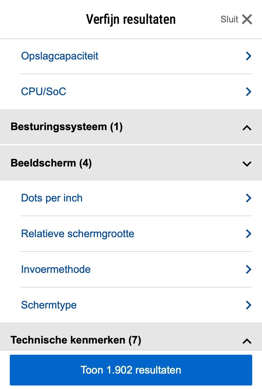 Filtergroepering mobile