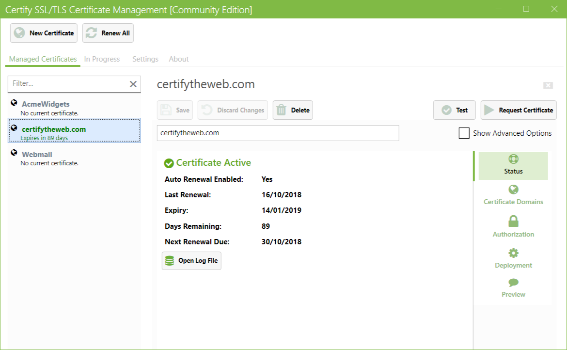 Certify SSL Manager