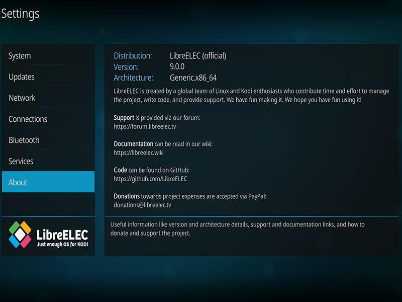 LibreELEC 9.0.0 screenshot (620 pix)