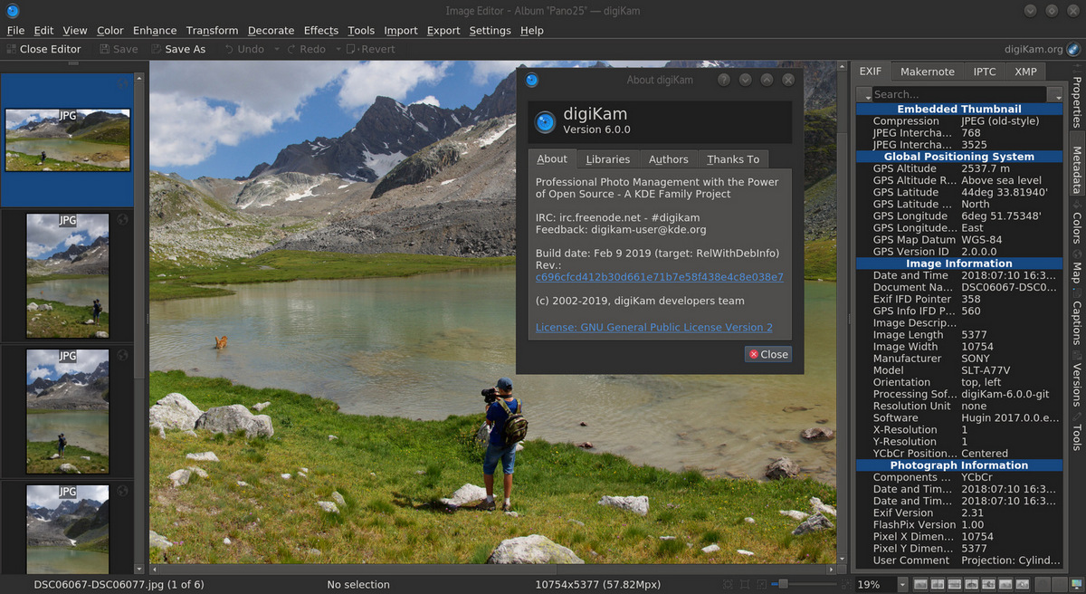 digiKam 6.0 screenshot (620 pix)