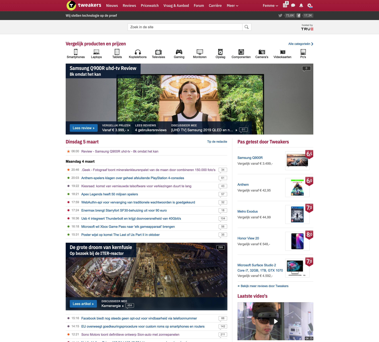 Tweakers nieuwe frontpage (desktop)