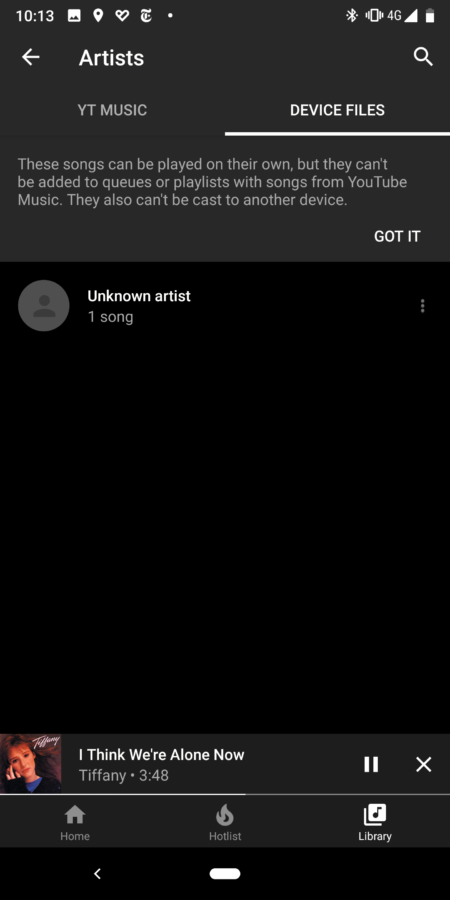 YouTube Music screenshot lokale bestanden