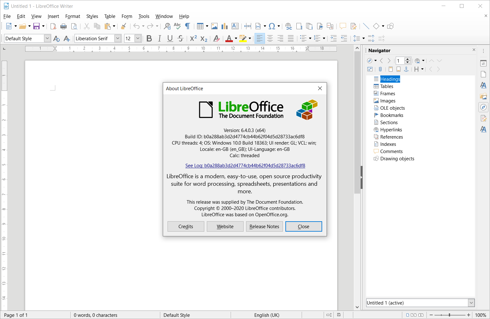 LibreOffice Writer 6.4