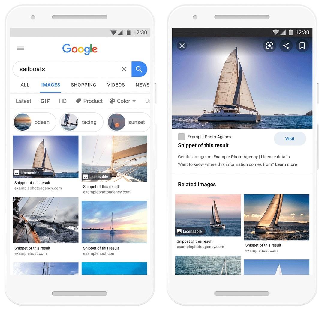 Google toont licentie informatie bij zoekresultaten voor