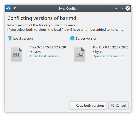 Nextcloud 3.1 conflict dialoog