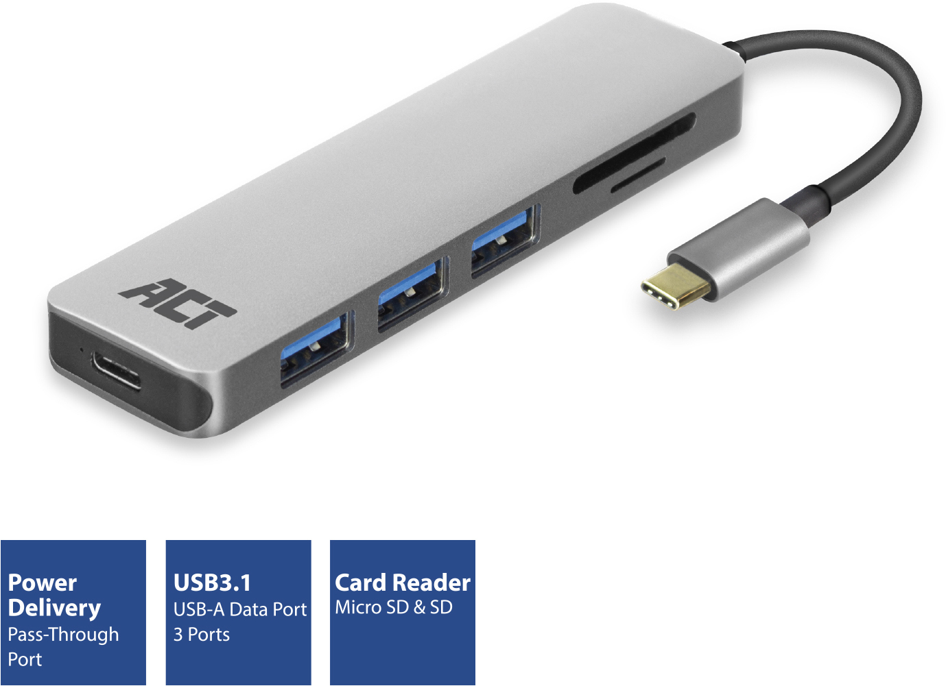 Act Ac7050 3 Port Usb C 3 1 Gen1 Usb 3 0 Hub With Card Reader And Pd Pass Through Port Kenmerken Tweakers