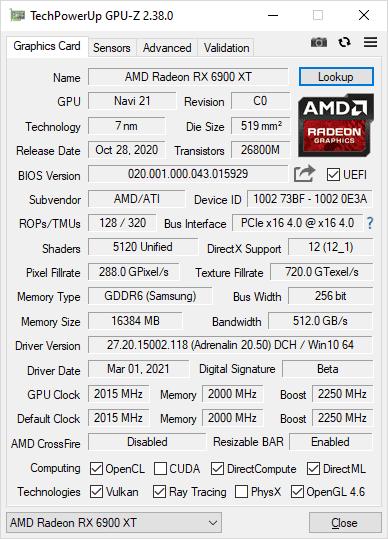 GPU-Z 2.38.0 screenshot