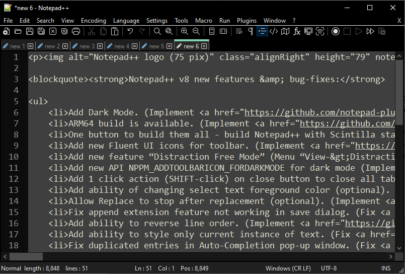 Notepad++ screenshot (620 pix)