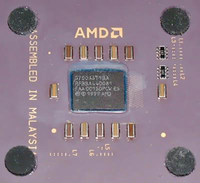 AMD Duron chip oppervlak