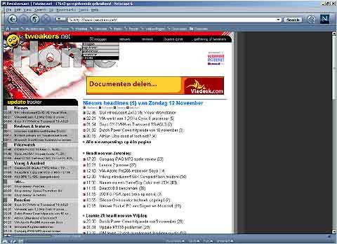Tweakers.net in Netscape 6