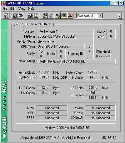 Pentium 4 @ 14 x 130MHz (WCPUID)