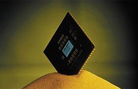 AMD Thunderbird op hoopje zand