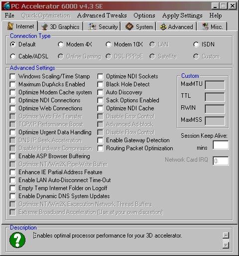 Screenshot PC Accelerator