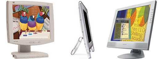 Drie LCD's op een rij