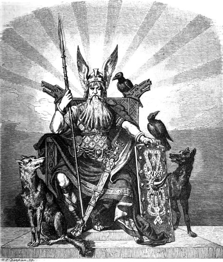Odin with Huginn and Muninn