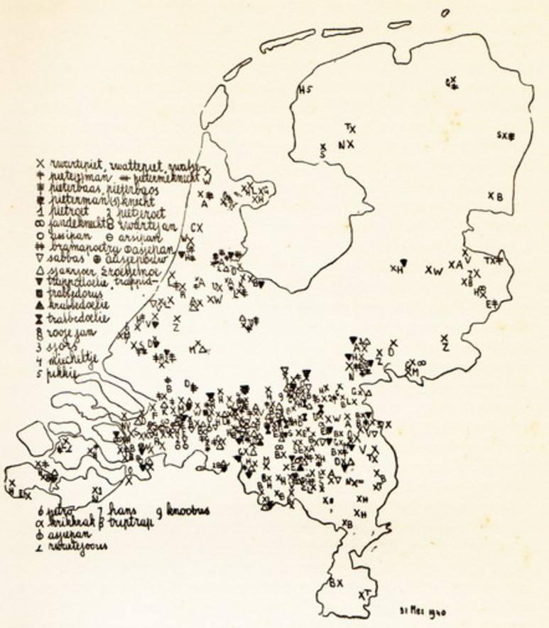 Kaart met namen van Zwarte Piet