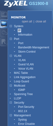 Web configurator - monitor