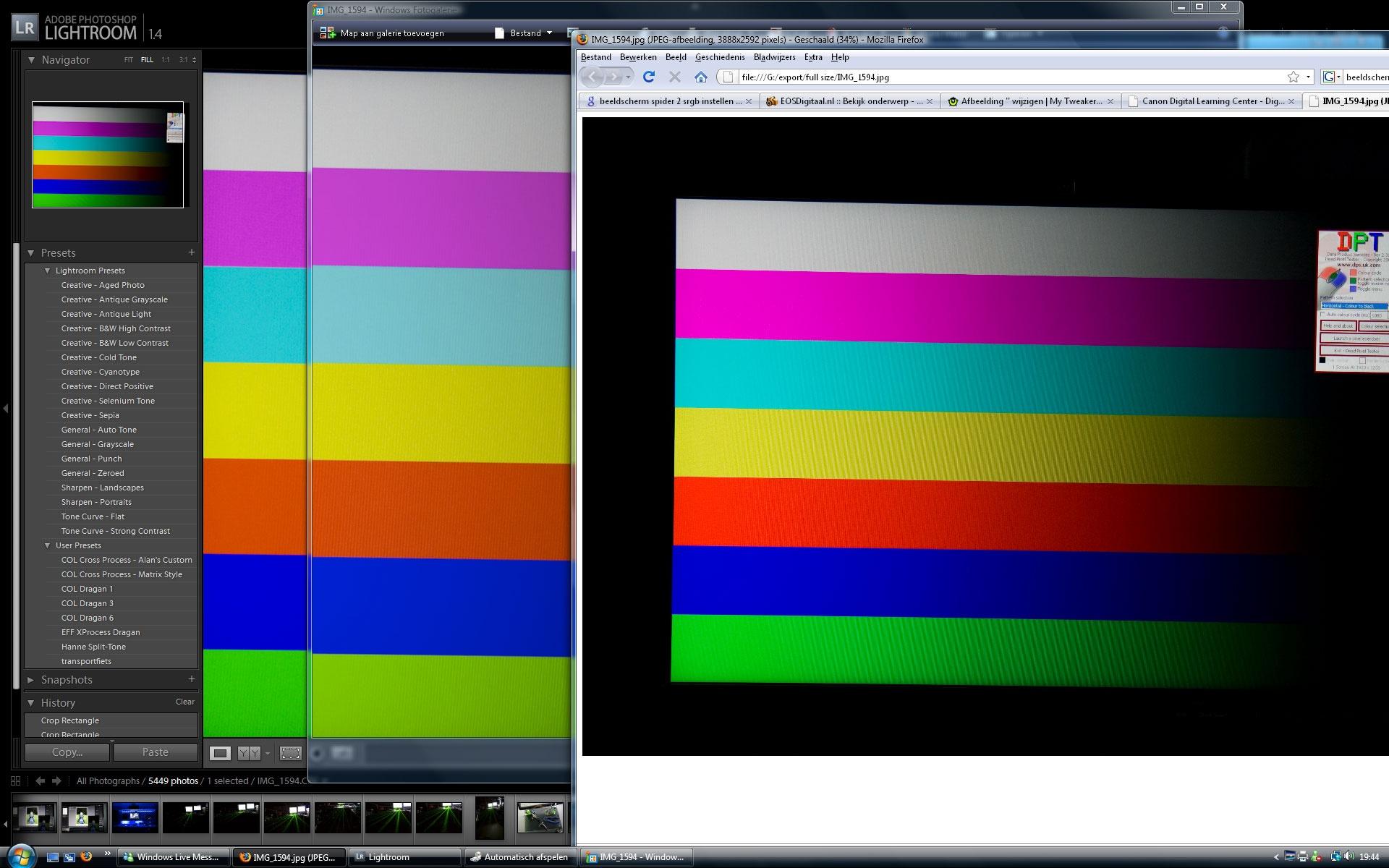 De kleurverschillen in verschillende programma's op een 'wide-gamut' scherm