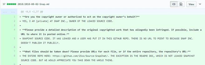 Verzoek van Snap om code te verwijderenvan GitHub