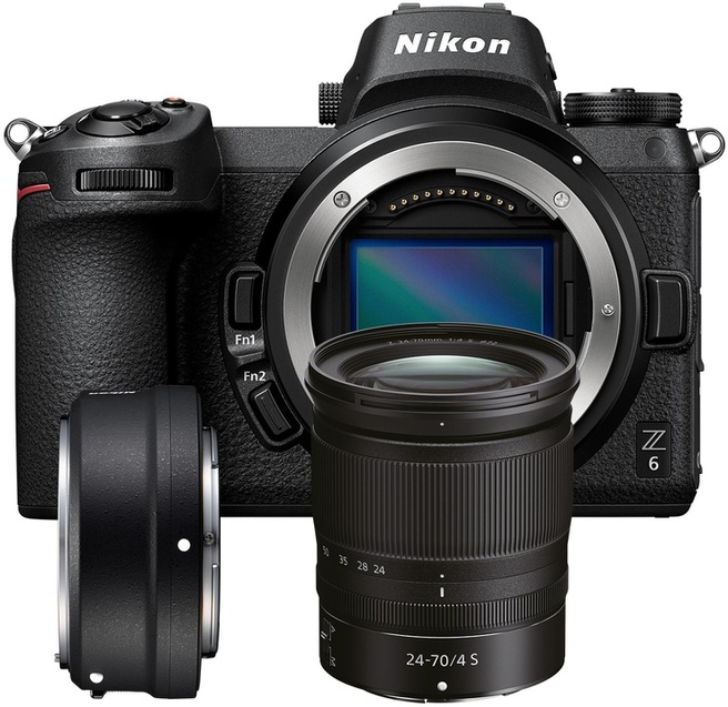 Nikon Z6 + 24-70mm f/4 + FTZ adapter Zwart