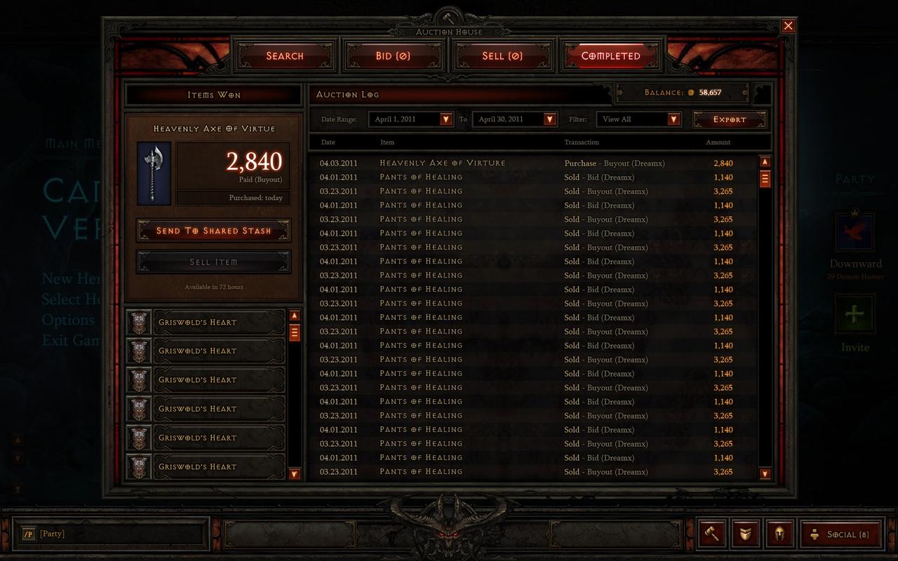Diablo III - Auction House - Verkocht voor Goud