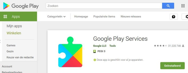 Google Play Services in Play Store