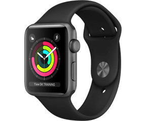 Apple Watch Series 3 (Sportbandje, 42mm) Grijs (Zwart)
