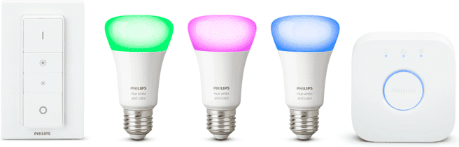 Philips Hue White and Color Ambiance Starter Pack (E27, 3 lampen, 1 dimmer, met Bridge 2.0)