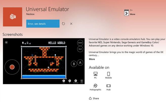 Nesbox uwp Universal Emulator