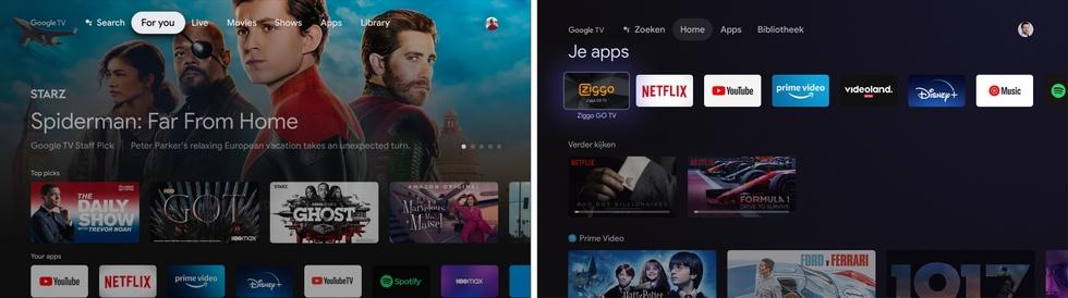 Chromecast US vs NL homescreen