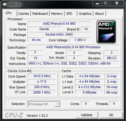 Cpu-z AMD Phenom II X4 965