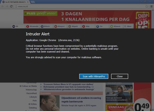 Waarschuwing voor malware via HitManPro Alert 2
