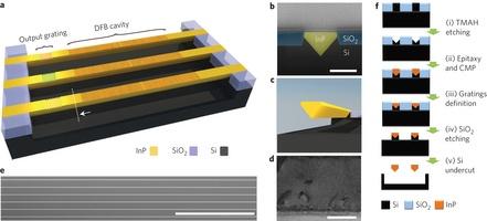 Integratie InP-lasers op silicium (afbeelding: Nature)