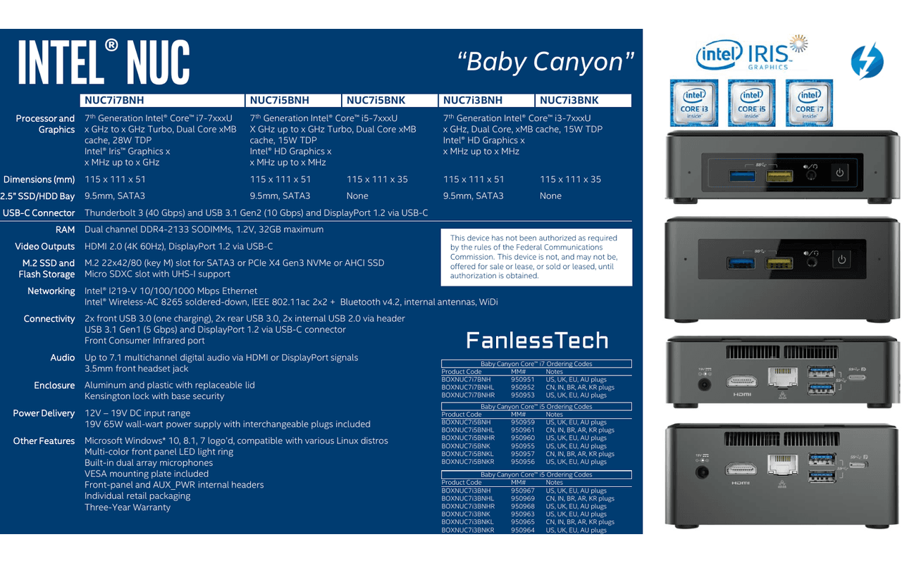 Intel NUC Baby Canyon Arches Canyon