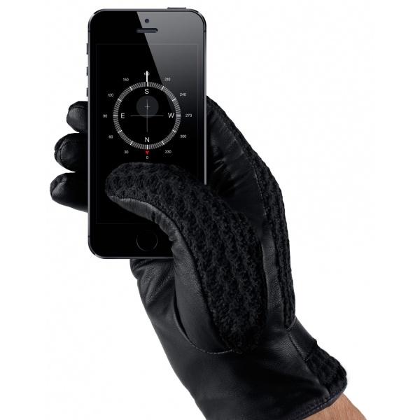 Mujjo Leather Crochet Touchscreen Gloves Male (size 8)