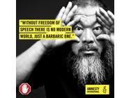 Amnesty International banner - Ai Weiwei - World Day against Cyber Censorship