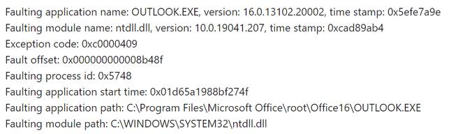 Microsoft Outlook foutmelding