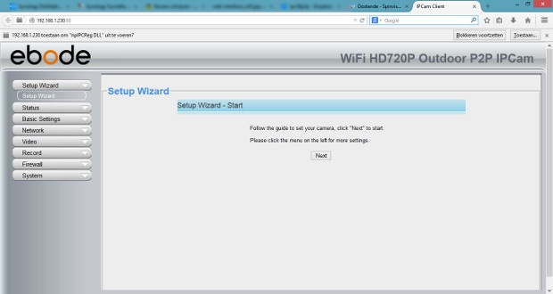 Ebode IPV58P2P Web-interface Wizard