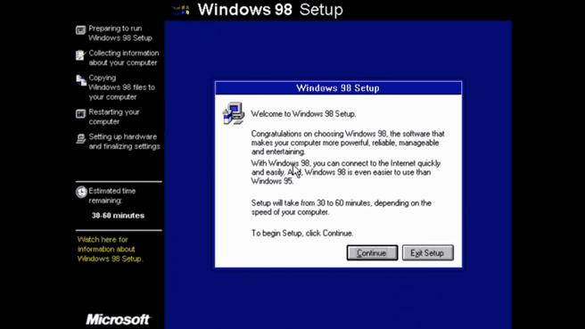 Windows 98SE installatie