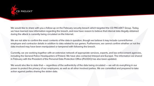 CD Projekt statement juni 2021