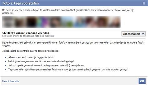 Facebook gezichtsherkenning