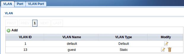 Web configurator - VLAN id