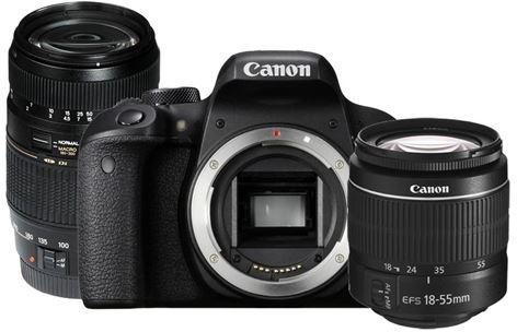 Canon EOS 800D + 18-55mm f/3.5-5.6 + 70-300mm f/4-5.6 Zwart