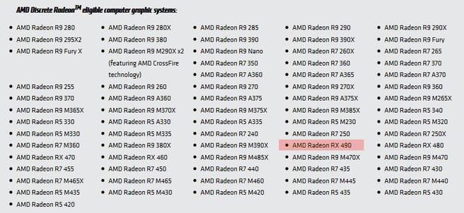RX 490 op AMD-website
